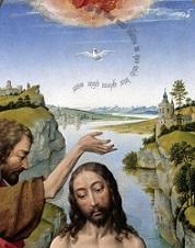 Rogier van der Weyden, 'Doop van Christus' (detail). In de tekstwolk rond de duif de woorden 'hic est filius meus dilectus in quo mihi complacui, ipsum audite' - Dit is mijn uitverkoren zoon, in wie ik behagen heb. Hoort naar Hem'