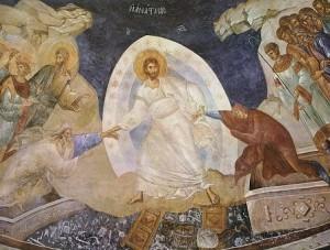Christus bevrijd Adam en Eva uit de gevangenschap van de dood - 'Nederdaling ter helle' Fresco in de grafkapel van het Choraklooster te Istanbul (13de eeuw)